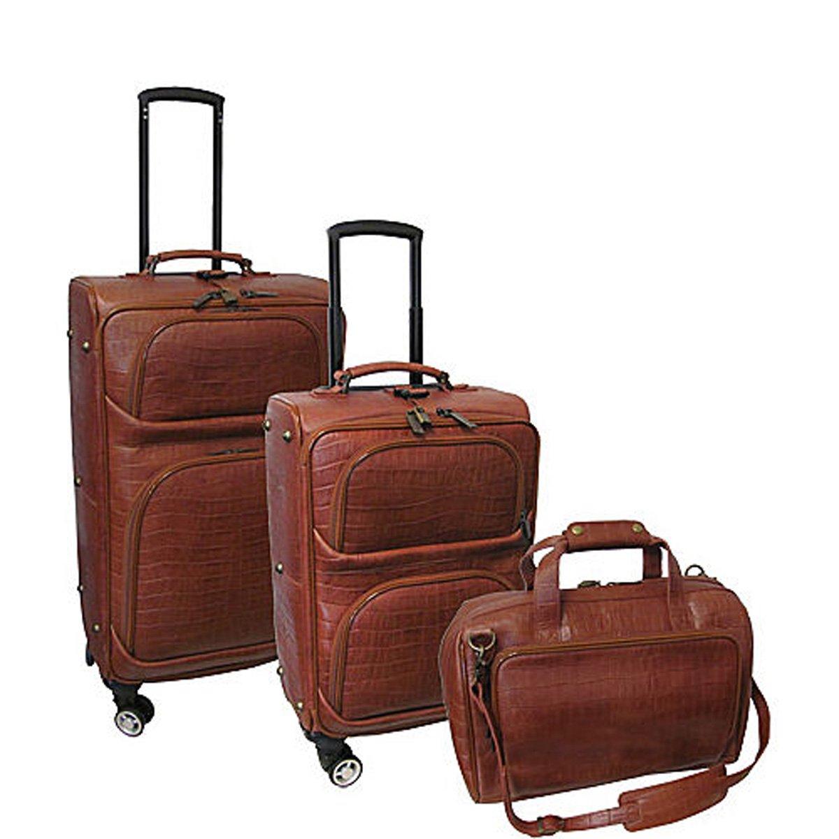 The Set of Classic Brown AmeriLeather Traveler Croco Print 3 Piece Luggage Set