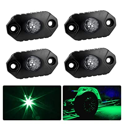 4WDKING Green LED Rock Lights, 4 Pods IP68 Waterproof Underbody Glow Trail Rig Lamp LED Neon Lights for Truck Jeep Off Road Truck Car Boat ATV SUV Motorcycle: Automotive