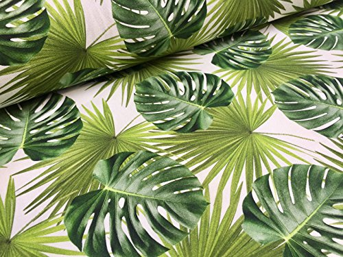 Fabric Polyacrylic - HomeBuy Green Palm Leaves Cotton Fabric for Curtain Upholstery - Green Tropical Leaf - 140Cm Wide