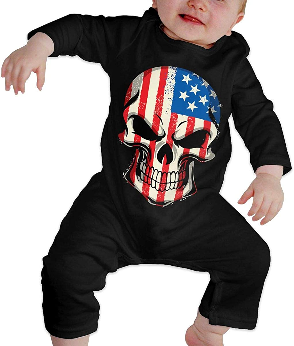 YELTY6F Skull American Flag Printed Newborn Baby One-Piece Suit Long Sleeve Romper Black