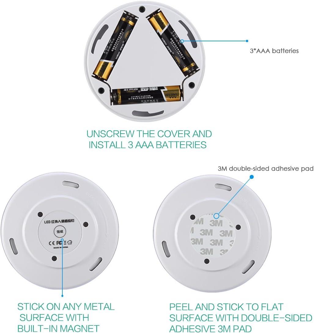 Schlafzimmer Batterie Powered Licht LED Lampe mit Bewegungsmelder ORIA Nachtlicht mit Bewegungsmelder LED Bewegungssensor Licht Schrankbeleuchtung K/üchen Wei/ß // 3 St/ück Innen F/ür Treppen