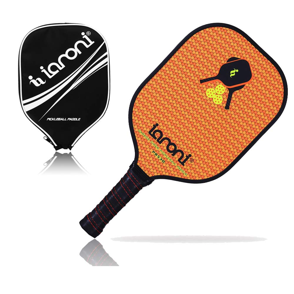 ianoni Graphite Composite Pickleball Paddle Pickleball Racket with Graphite Face & Polymer Honeycomb Core,Balanced Weight,Low Profile Edge,Meets USAPA Specifications (Orange)