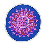 KESS InHouse Jane Smith India Meditation Mandala Tile Pink Blue Contemporary Modern Digital Vector Round Beach Towel Blanket