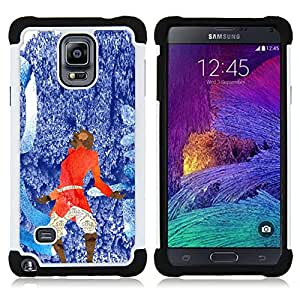 GIFT CHOICE / Defensor Cubierta de protección completa Flexible TPU Silicona + Duro PC Estuche protector Cáscara Funda Caso / Combo Case for Samsung Galaxy Note 4 SM-N910 // Blue Red Abstract //