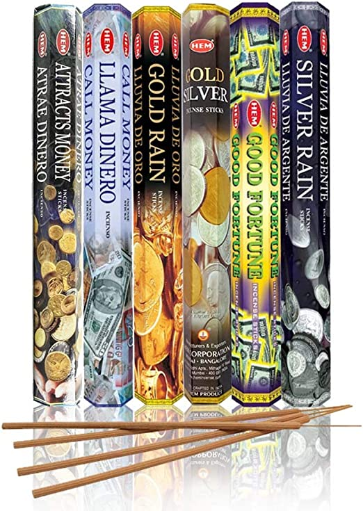 HEM Money Drawing Scents Collection/Assortment - Attracts Money, Call Money, Gold Rain, Gold Silver, Good Fortune, and Silver Rain - Six 20 Stick ...