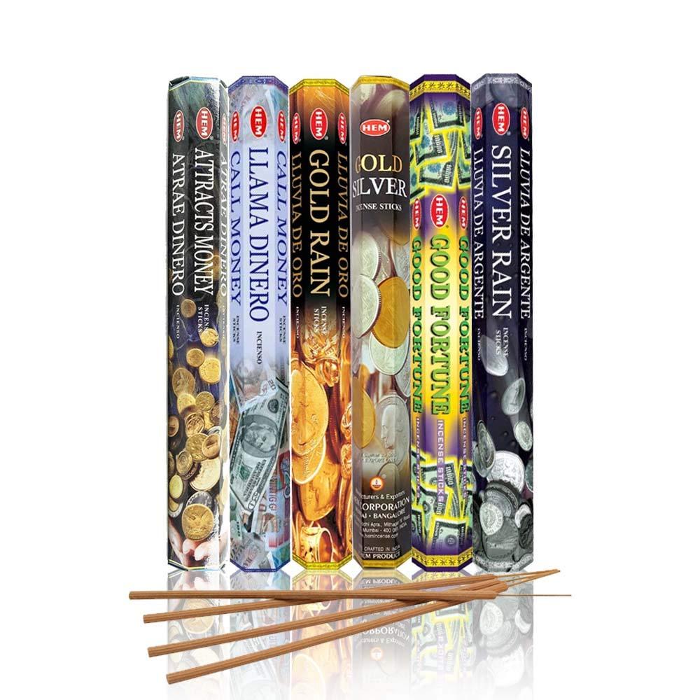 HEM assorted incense sticks pack of 6, 20 stick tubes,120 sticks total