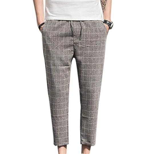 Yingsssq Pantalones a Cuadros de los Hombres Primavera Otoño ...