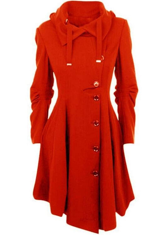 Red KLJR Women Casual Solid Hooded Single Breasted Irregular Hem Pea Coat