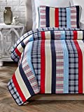Cozy Line Home Fashions 3 Piece Ronnie Varsity Striped Cotton Quilt Set, Full/Queen