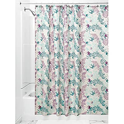 InterDesign Josie Fabric Shower Curtain, Mint/Lavender - Machine washable, easy care Use of liner recommended, Check out InterDesign's extensive liner collection. 12 reinforced button-holes with a reinforced top-header - shower-curtains, bathroom-linens, bathroom - 61aZ2Or%2Bu7L. SS400  -