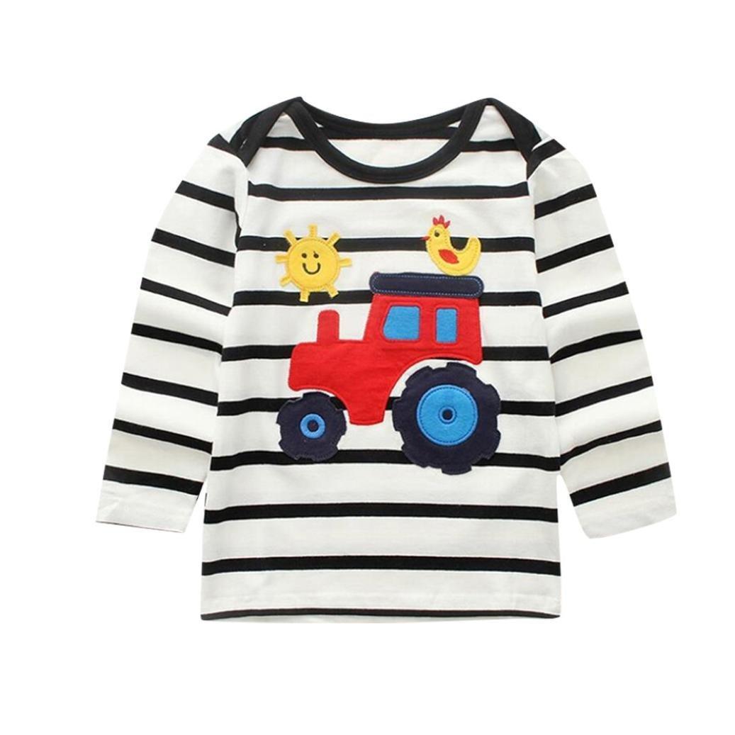 squarex Baby Blouse, Kids Boys Girls Long Sleeved Stripe Cartoon Car Print Clothes