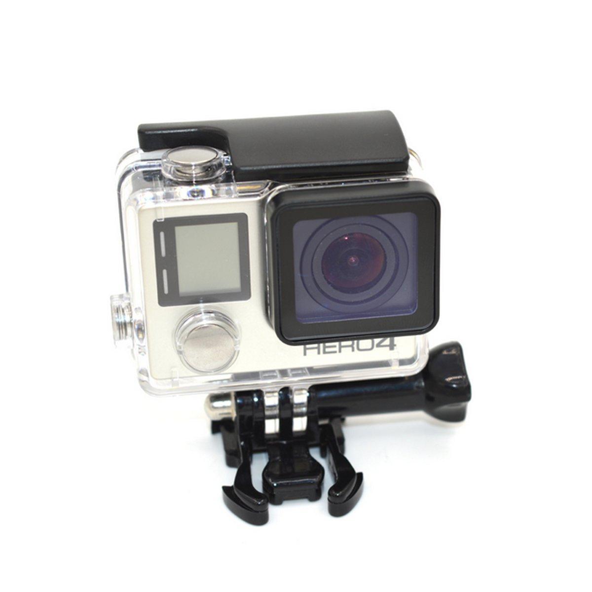 Flycoo Funda Cubierta impermeable Carcasa Gopro Hero 3 4 Con lente para GoPro Hero 3 + Hero 4 Cámara de acción con tornillo de fijación y Base ...
