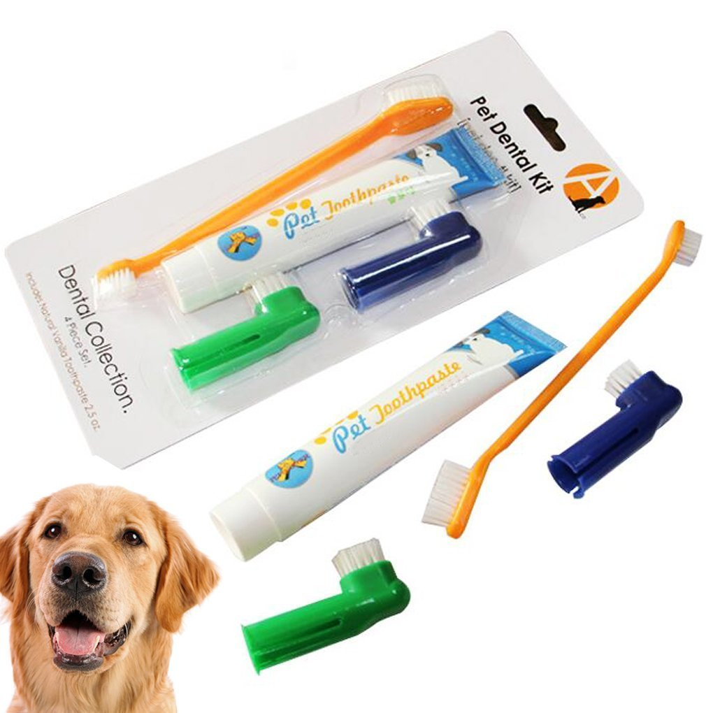 iMustech Pet Dental Care Kit, Pet Toothpaste & Brushes, 4 Pcs 1 Set, includes 1 Dual-Sided Pet Brushes, 1 Toothpaste and 2 Finger Brushes, Excellent Toothpaste Set for Dogs, Cats and Most Pets