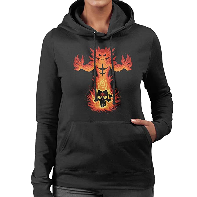 Inner Fire Cat Incineroar Litten Pokemon Womens Hooded Sweatshirt