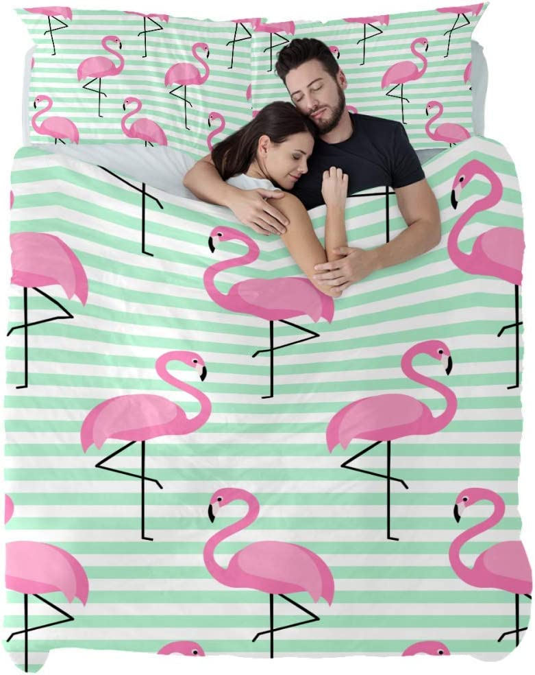 Flamingo Pattern on Stripped Duvet Cover Set Extra Long Twin Size,3 Piece Bedding Set with Zipper Closure and Corner Ties