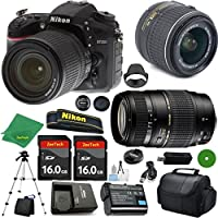 ZeeTech Ultimate Bundle for D7200 DSLR Body, 18-55mm VR Lens, Tamron 70-300mm DI LD Zoom, 2pcs 16GB ZeeTech Memory, Camera Case