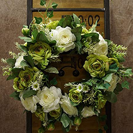 Sogyupk 40cm Spring Front Door Wreaths Natural Looking Modern Decorative Artificial Silk Rose Flowers Garland For Home Kitchen Wedding Festive Indoor White And Green Amazon Co Uk Kitchen Home