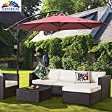 Dienspeak Deluxe 10 Ft Patio Cantilever Beach Umbrella Offset Hanging Sunshade 1000 Hours Fade-Resistant Outdoor Market Umbrella Garden Umbrella, 250g/sqm Spun-Polyester, 8 Steel Ribs (Burgenty)