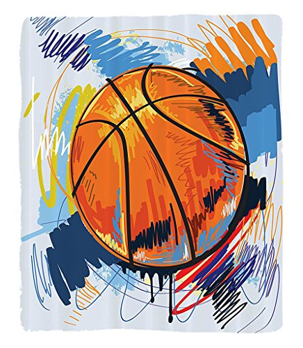 Chaoran 1 Fleece Blanket on Amazon Super Silky Soft All Season Super Plush Sports Decor Collection Basketball Colorful Backgroundketch Enjoyment Artful Doodletyle Design Print Fabric Orange Red by chaoran
