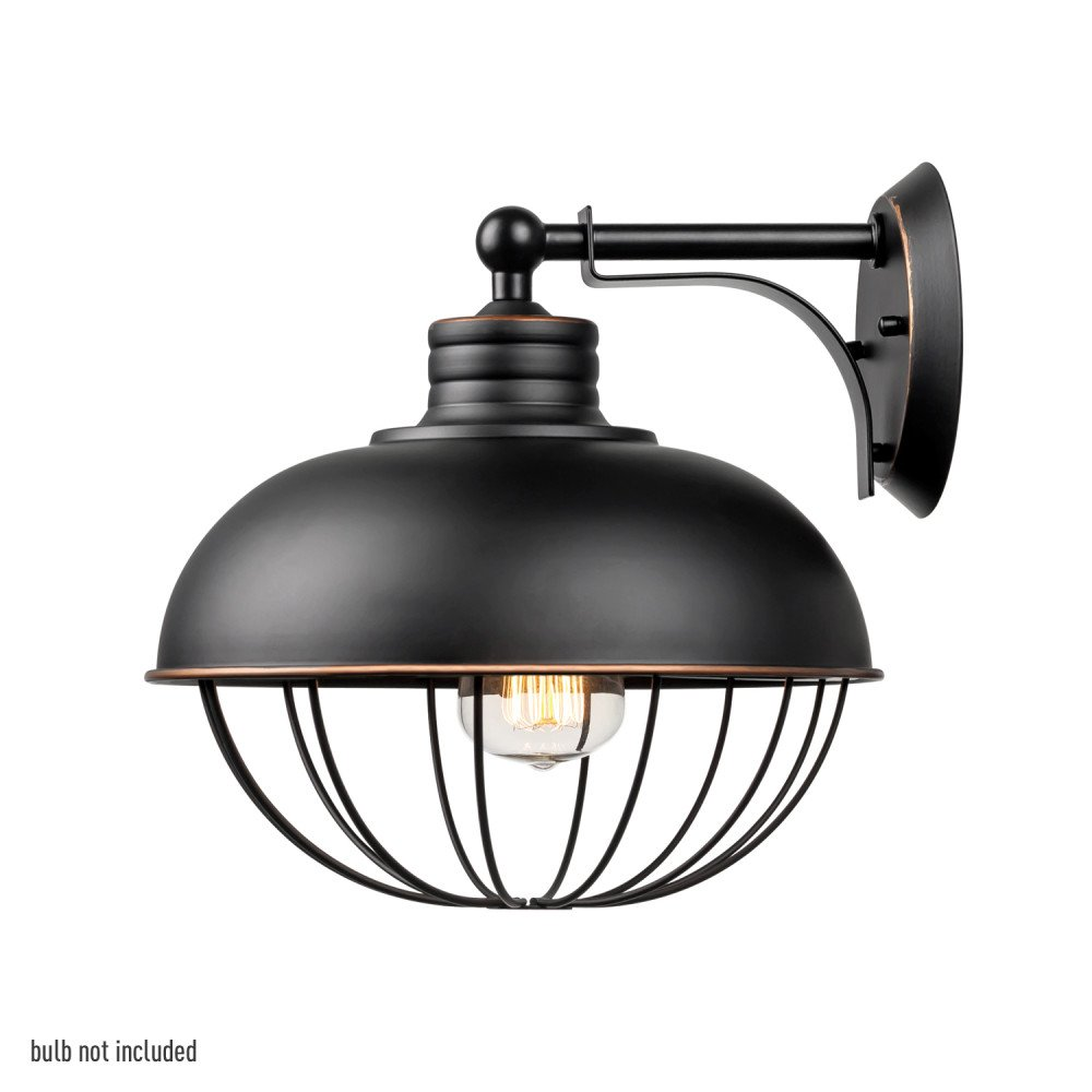 Globe Electric Elior 1-Light 10'' Industrial Caged Wall Sconce, Oil Rubbed Bronze Finish, 65413