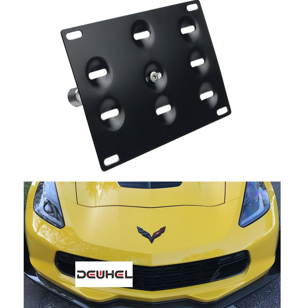 DEWHEL Front Bumper Tow Hook License Plate Mount Bracket Holder Bolt On No Drill Hole Aluminum Performance for Chevrolet Corvette C7 Z06 2014-2018 C7 Stingray 2015-2018