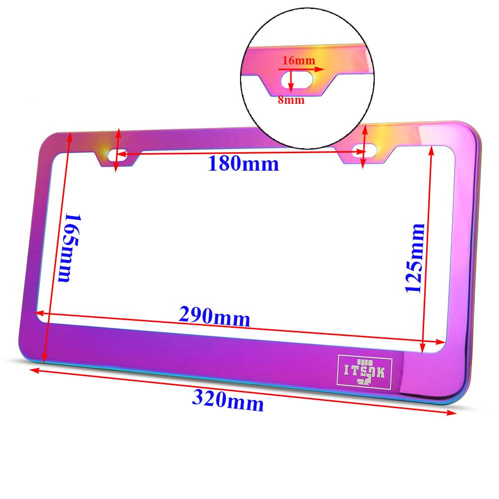 Stainless Steel Number Plate Frame Kyostar Neo Chrome License Plate Frame Number Plate Cover for US Vehicles 2 Holes 2PCS Car License Plate Covers