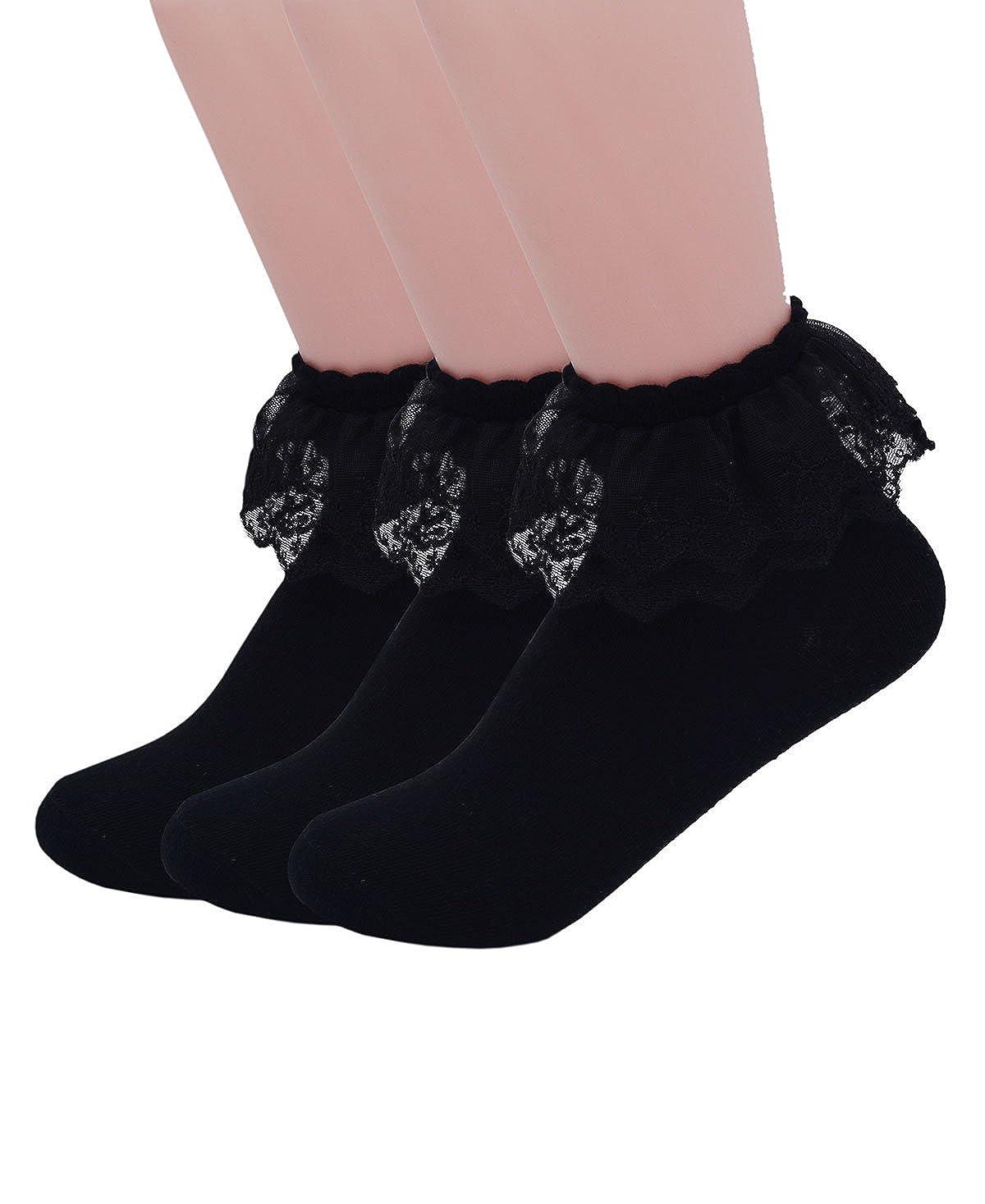 3 Pairs, Black YASIDI Women Socks, Comfortable NoShow Cotton Ankle lace Socks