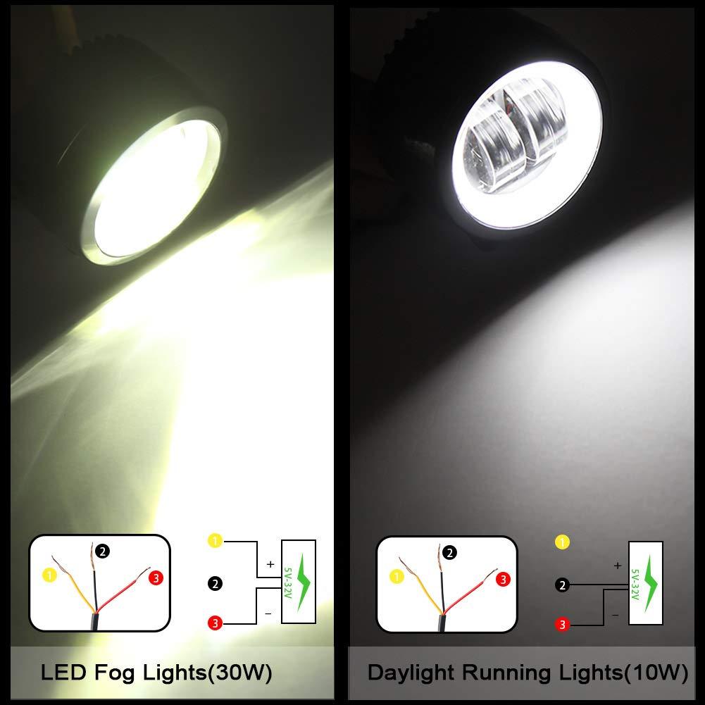 HAWEE 2pcs 40W LED Fog lights Offroad Headlights Angel Eye Daytime Running Lights Waterproof LED Work Light for Trucks Jeep 4x4s SUV UTV ATV Motorcycle Tractor Boat