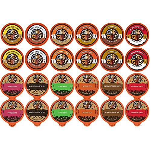 Crazy Cups Flavored Hot or Iced Coffee Single Serve Cups Variety Pack Sampler for the Keurig K Cup Brewer, 48 count (Flavored Lovers & Dessert Lovers)