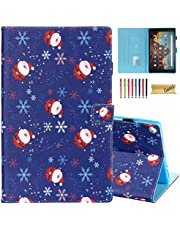 Casii Case for Fire HD 10 (9th/7th/5th Generation, 2019/2017/2015 Release), Premium PU Leather Folio Stand Smart Cover with Auto Wake/Sleep Card Slots for Kindle Fire HD 10.1 inch (Santa Claus)