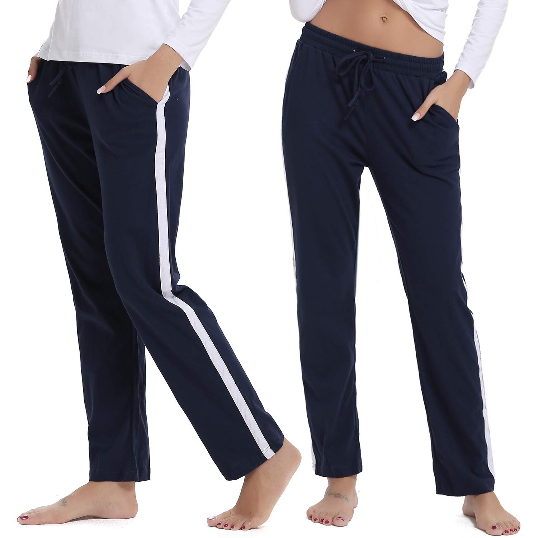 Hawiton Damen Sporthose Streifen Freizeithose Jogging Hose Traininghose Fitness High Waist Lang Baumwolle
