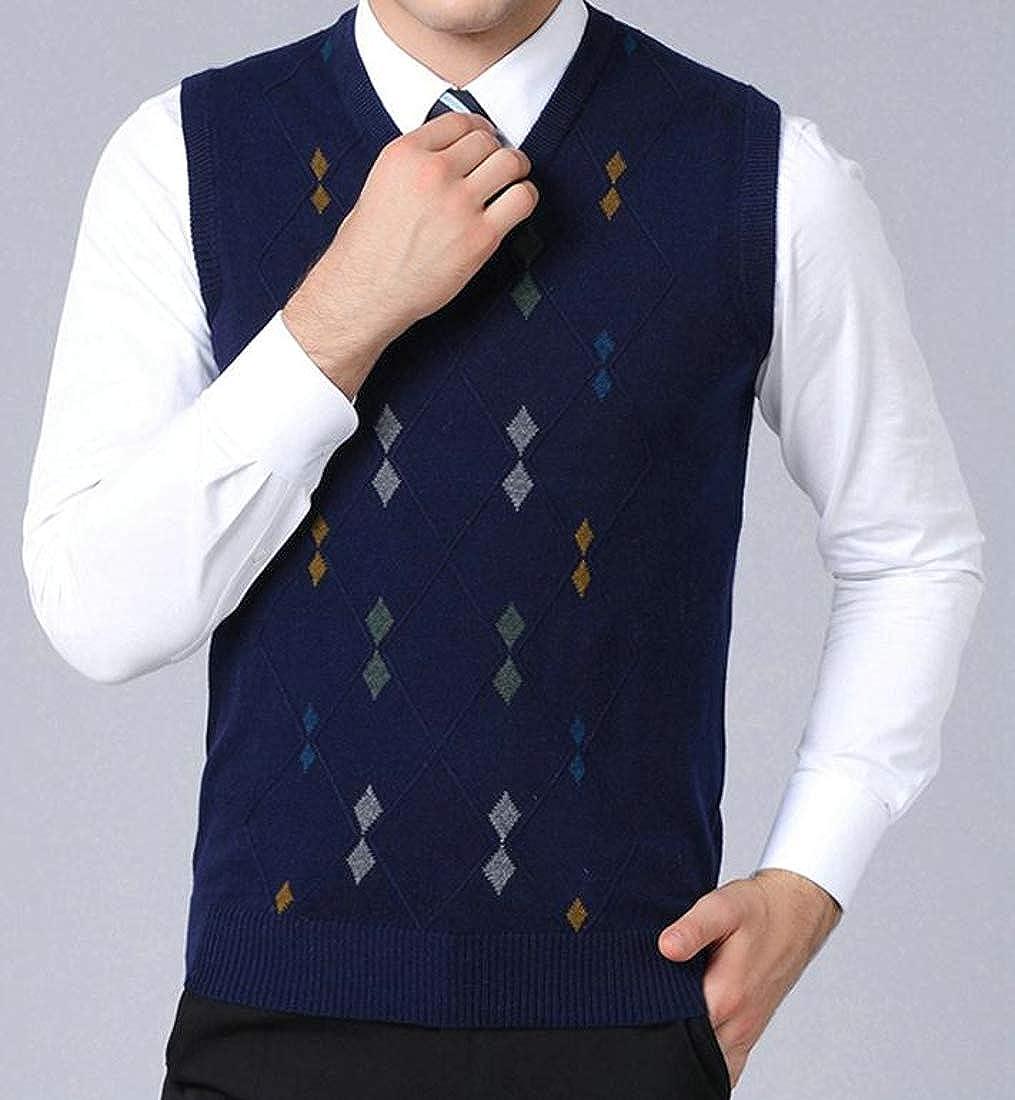 Pandapang Men Knitted Waistcoat Sleeveless V Neck Slim Fit Argyle Vest