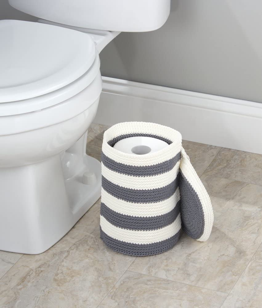 Gray//Ivory mDesign Knitted Free Standing Toilet Paper Roll Holder for Bathroom Storage