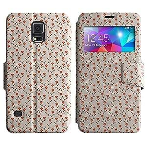 LEOCASE Pequeñas Flores Con Hojas Funda Carcasa Cuero Tapa Case Para Samsung Galaxy S5 I9600 No.1000282