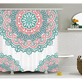 Amazon.com: Ambesonne Coral and Teal Shower Curtain, Modern Tribal ...