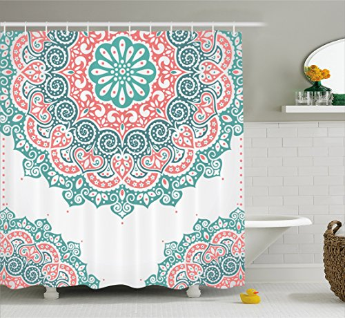 Ambesonne Henna Shower Curtain, Soft Colored Mandala South Asian Culture Inspired Ethnic Style Floral Image, Fabric Bathroom Decor Set with Hooks, 70 Inches, Turquoise Coral Teal