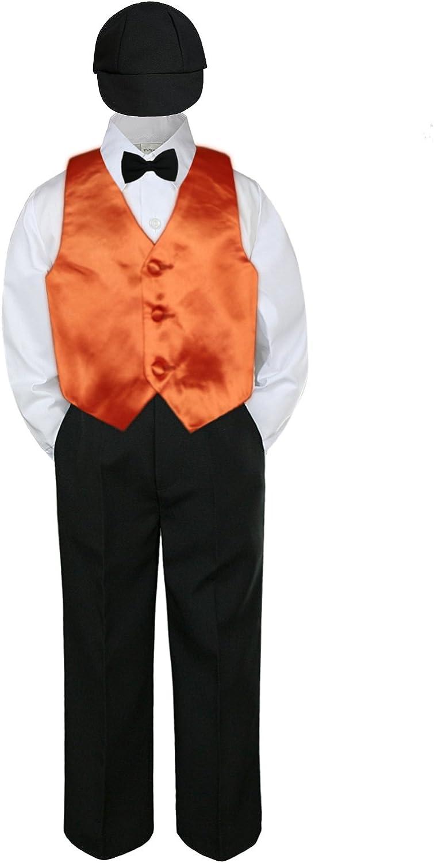Leadertux 5pc Baby Toddler Boy Formal Tuxedo Suit Black Pants Shirt Vest Bow tie Hat SM-4T