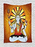 asddcdfdd Spiritual Tapestry, Religious Figure on Grunge Backdrop Idol Meditation Boho Holy Print, Wall Hanging for Bedroom Living Room Dorm, 60 W x 80 L Inches, Amber Orange Light Blue