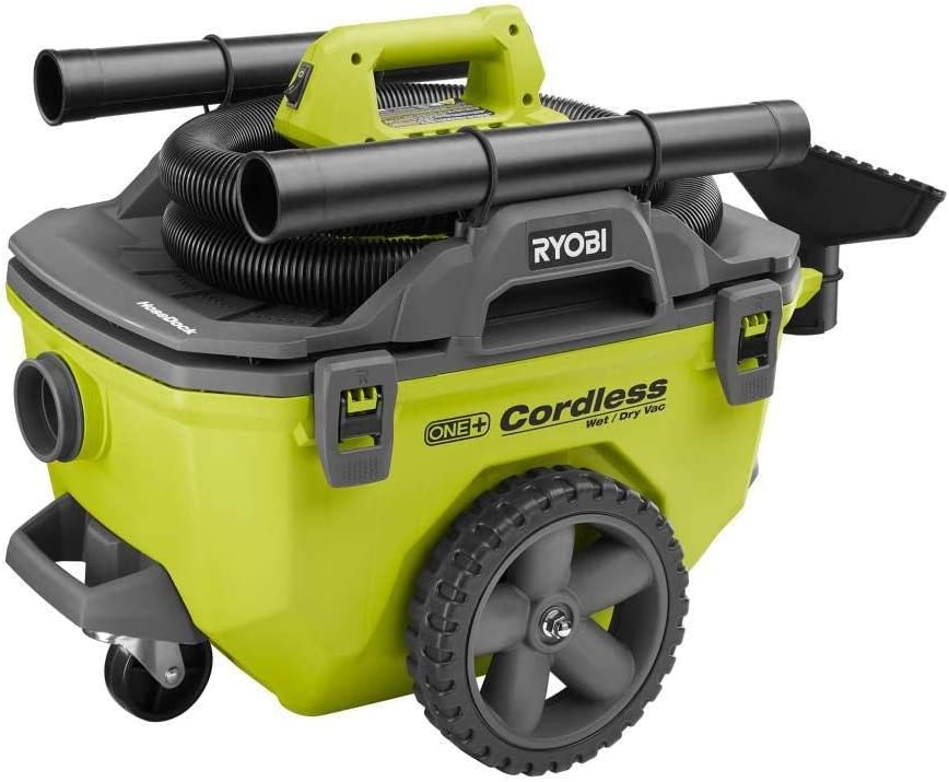 Ryobi 18-Volt ONE+ 6 Gal. Cordless Wet/Dry Vacuum (Bare-Tool) with Hose, Crevice Tool, Floor Nozzle and Extension Wand (Renewed)
