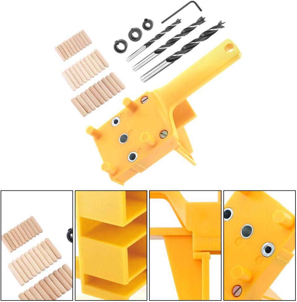 Gelb Angoily 1 Satz D/übelvorrichtungssatz Geradlocher f/ür Holzbearbeitungsbohrer-Drehbohrer