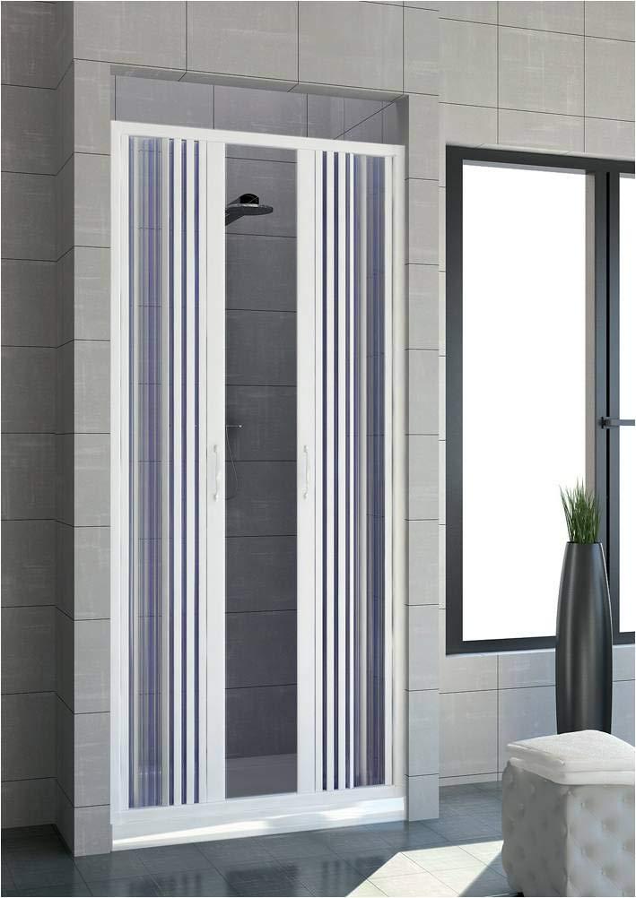 Box doccia estensibile in PVC a un lato due ante apertura centrale cm 120//130