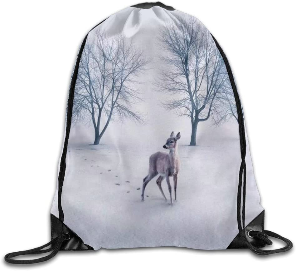 Sika Deer Drawstring Backpack Rucksack Shoulder Bags Training Gym Sack For Man And Women