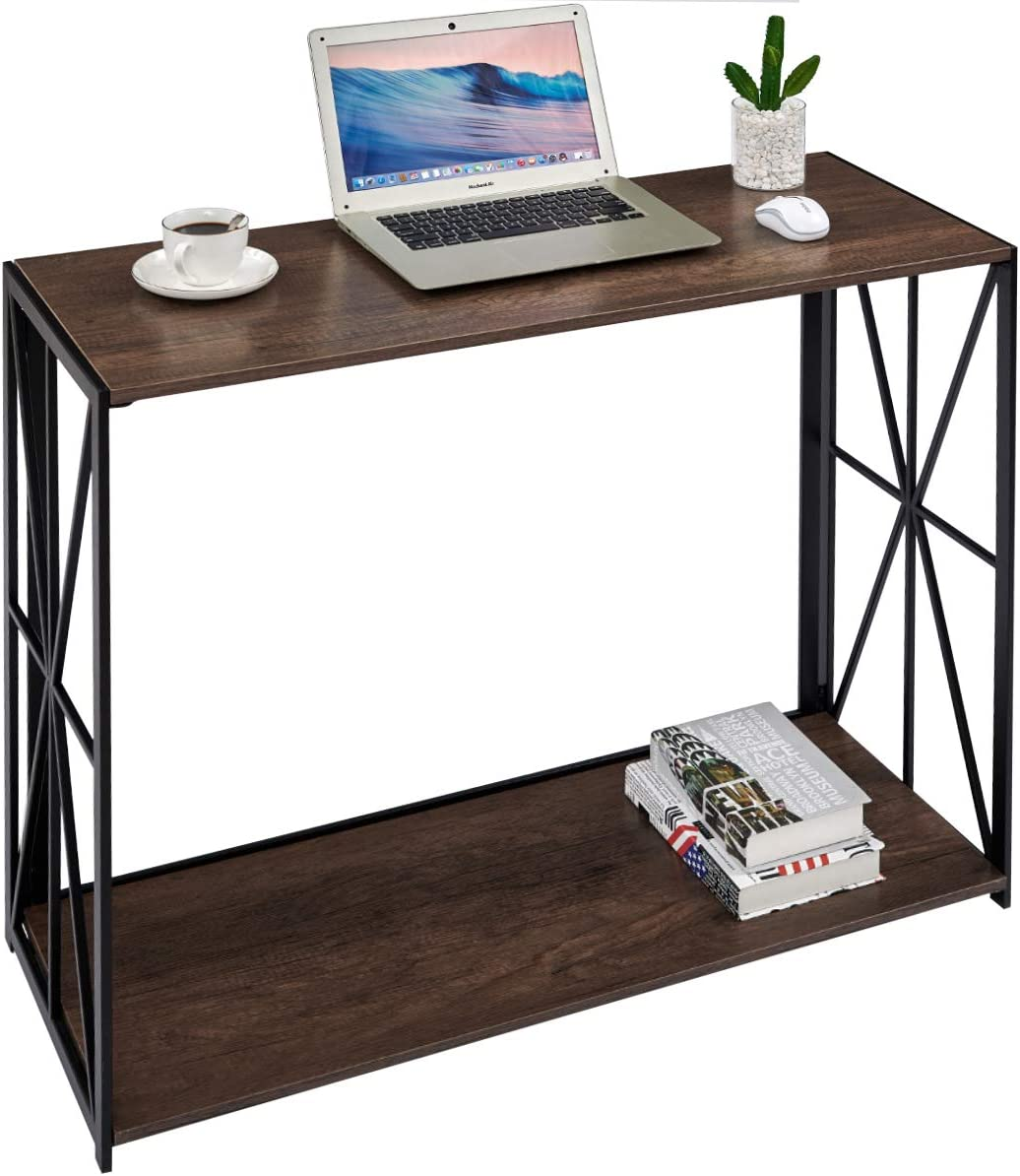 Console Sofa Table 2 Tier Folding Wall Table for Entryway, No-Assembly Home Office Computer Desk Living Room TV Entrance Table with Shelf, Industrial Rustic Brown Kitchen Bar Table with Metal X-Frame