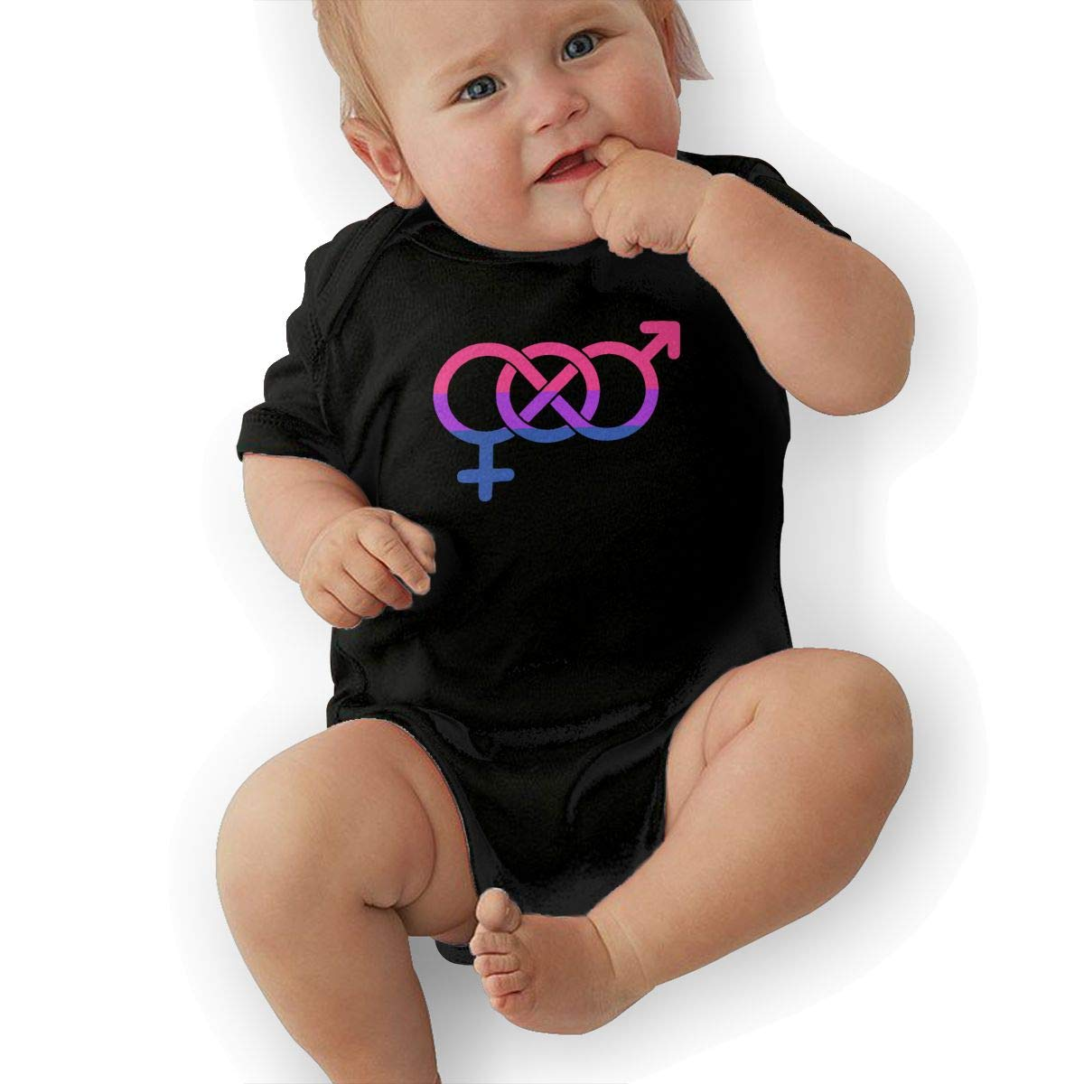 Mri-le2 Unisex Baby Short Sleeve Organic Bodysuit Bisexual Flag Symbol Toddler Jumpsuit