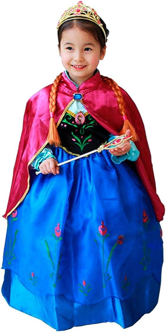 Disfraz Elsa Anna Frozen con Varita Y Corona (120 (4-5 años ...