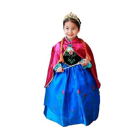 15a3cdd3b Frozen Vestido Niñas Disfraz ANNA ELSA (120 (4-5 años))  Amazon.es ...