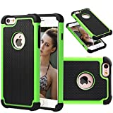 iPhone 6s Plus Case [5.5 Inch] Akimoom [Jade Series] PC+Silicone Trendy Defender Nonslip Scratch Resistant Dust-proof Heavy Duty 2-Layer Hard Protective Case for iPhone 6 Plus/6s Plus(Black/Green)