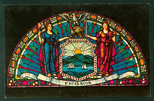 ALBANY NEW YORK State Capitol Stained Glass Window Lobby State Seal NY Postcard