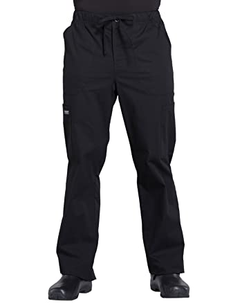 ed09ec4255f Cherokee WW Professionals WW190 Men's Tapered Leg Drawstring Cargo Pant  Black XS Short
