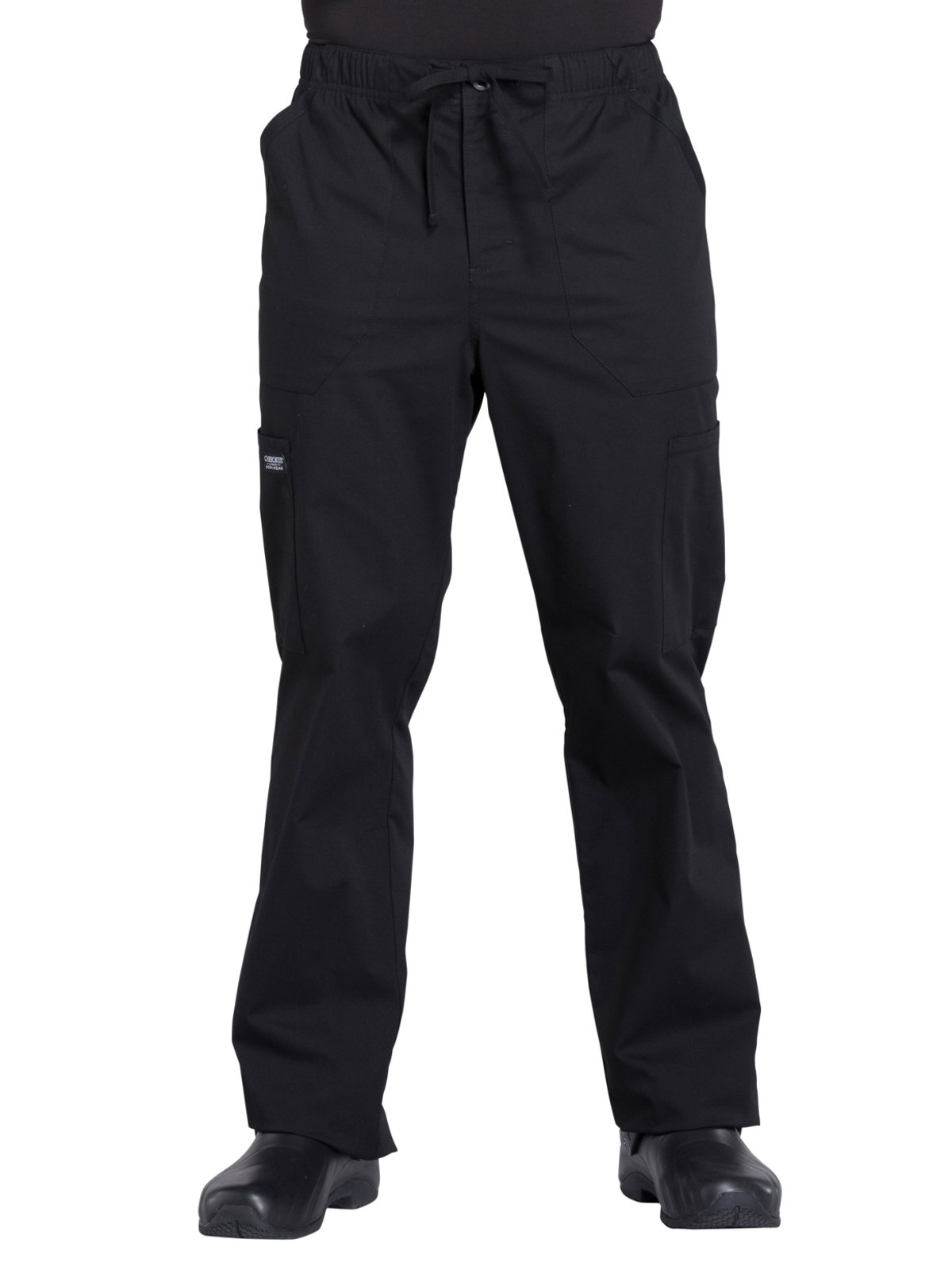 Cherokee WW Professionals WW190 Men's Tapered Leg Drawstring Cargo Pant Black M